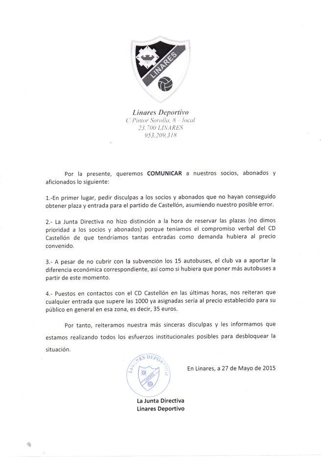 Comunicado Castellon