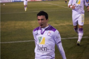 Hugo Díaz celebra un gol con el Jaén | Pedro J. Carmona