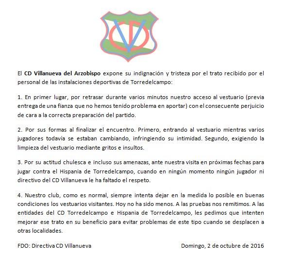 Comunicado publicado en las redes sociales | CD Villanueva
