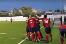 El Recre celebra un gol ante el Lopera en el partido de liga | Recreativo Bailén