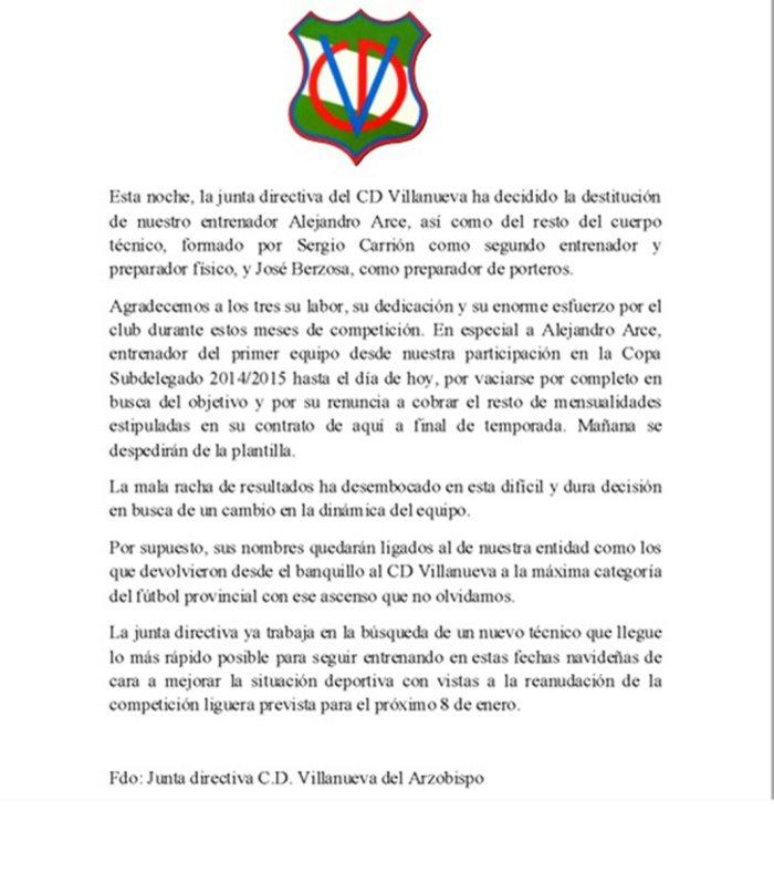Comunicado emitido por el CD Villanueva