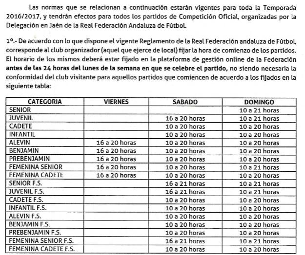 Extracto de la circular que regula los horarios | Federación Jiennense de Fútbol