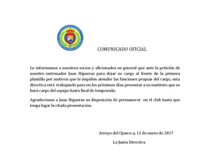 Comunicado distribuido por el club   CF Arroyo