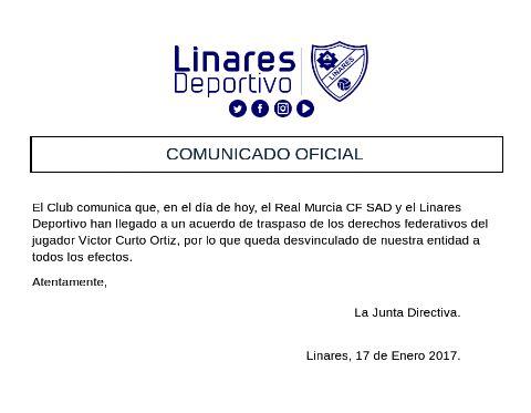 Comunicado emitido por el club azulillo   Linares Deportivo